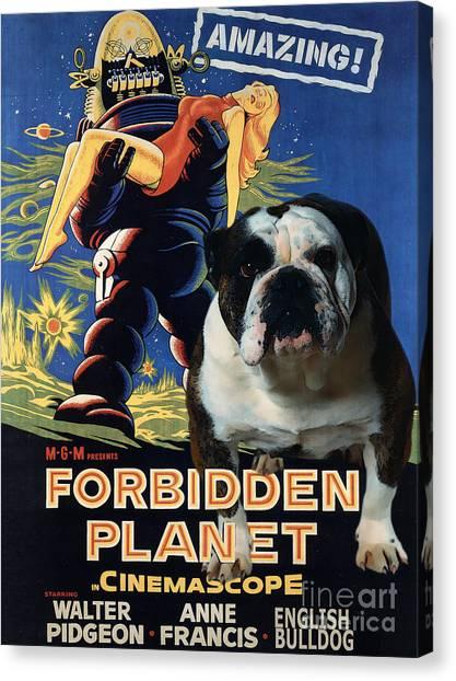 Forbidden Planet Canvas Print - English Bulldog Art Canvas Print - Forbidden Planet Movie Poster by Sandra Sij