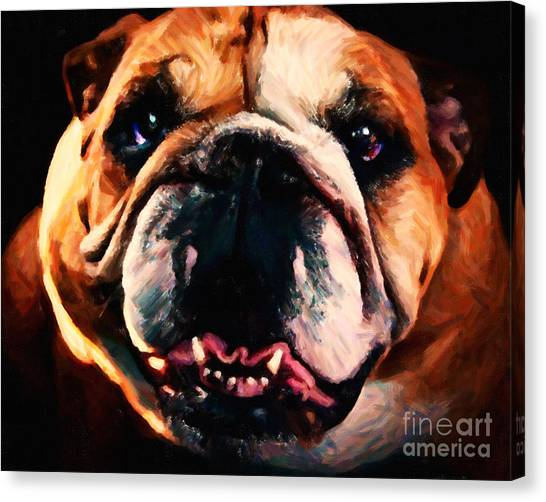 English Bull Dogs Canvas Print - English Bulldog - Painterly by Wingsdomain Art and Photography