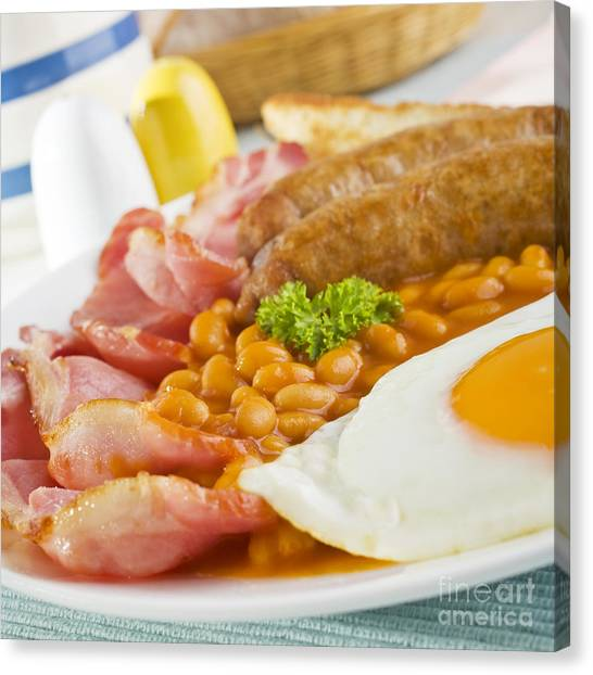 Eggs And Bacon Canvas Print - English Cooked Breakfast by Colin and Linda McKie