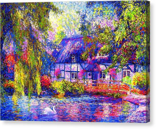 Weeping Canvas Print - English Cottage by Jane Small