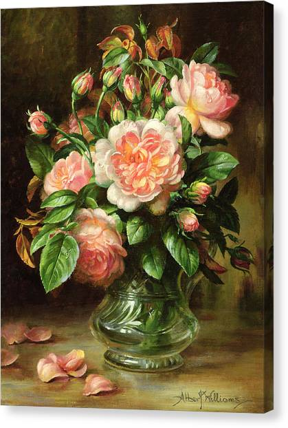 Rose In Bloom Canvas Print - English Elegance Roses In A Glass by Albert Williams