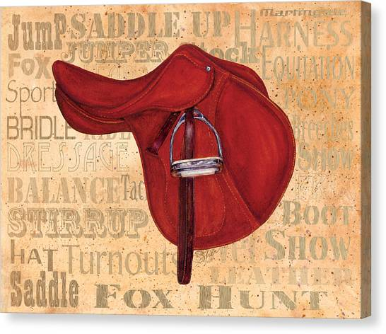English Saddle - Tea Stained Canvas Print