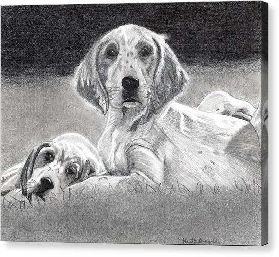 English Setter Puppies Dog Canvas Print by Olde Time  Mercantile