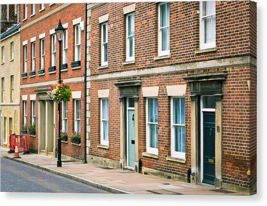 Brick Sidewalks Canvas Print - English Town Houses by Tom Gowanlock