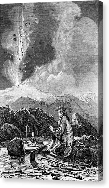 Mount Etna Canvas Print - Engraving Of Mt Etna Being Observed By Spallanzani by Science Photo Library