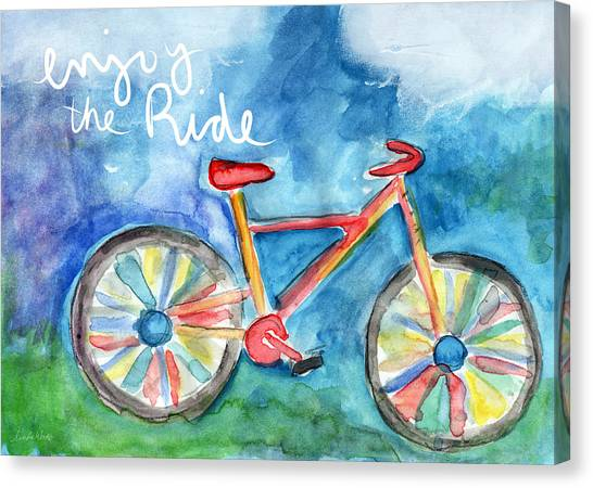Rainbows Canvas Print - Enjoy The Ride- Colorful Bike Painting by Linda Woods