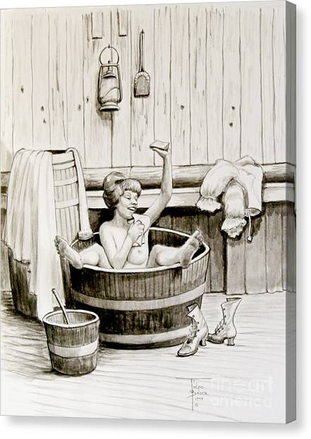 Bawdy Lady Bath - 1890's Canvas Print