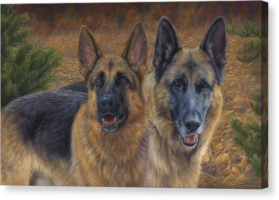 German Shepherds Canvas Print - Enjoying The Fall by Lucie Bilodeau