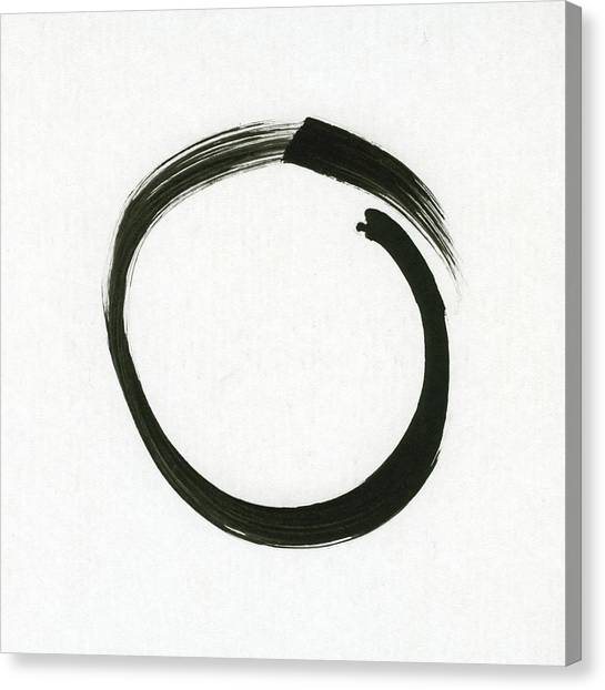Mills Canvas Print - Enso #1 - Zen Circle Minimalistic Black And White by Marianna Mills