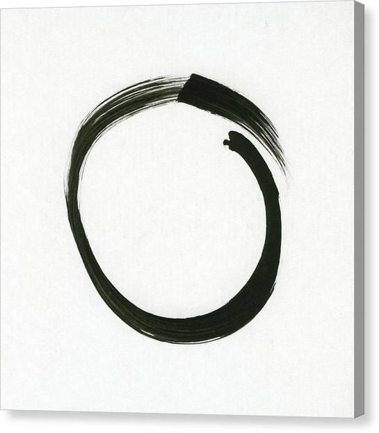 Enso #1 - Zen Circle Minimalistic Black And White Canvas Print