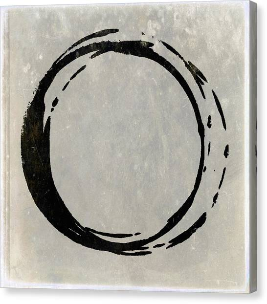 Enso No. 107 Black On Taupe Canvas Print
