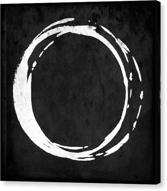 Enso No. 107 White On Black Canvas Print