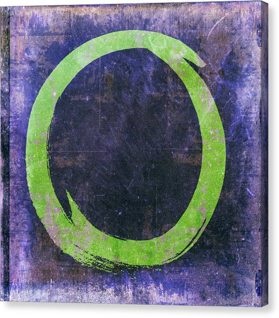 Enso No. 108 Green On Purple Canvas Print