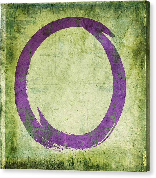 Enso No. 108 Purple On Green Canvas Print