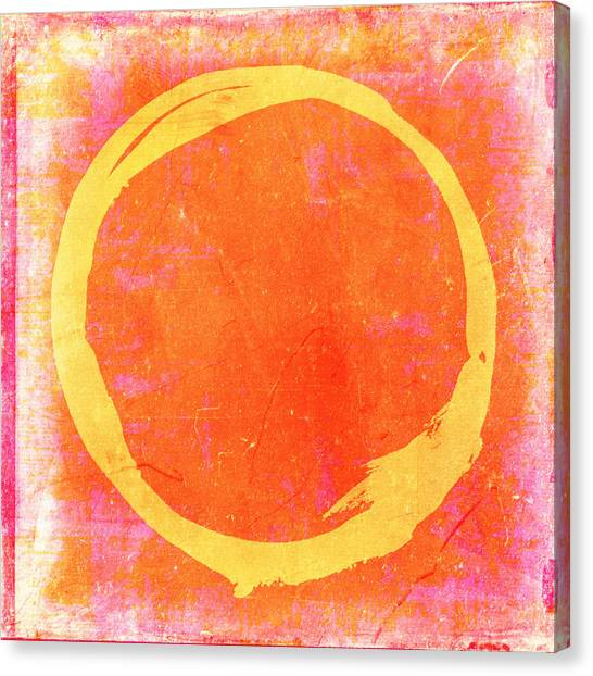 Enso No. 109 Yellow On Pink And Orange Canvas Print