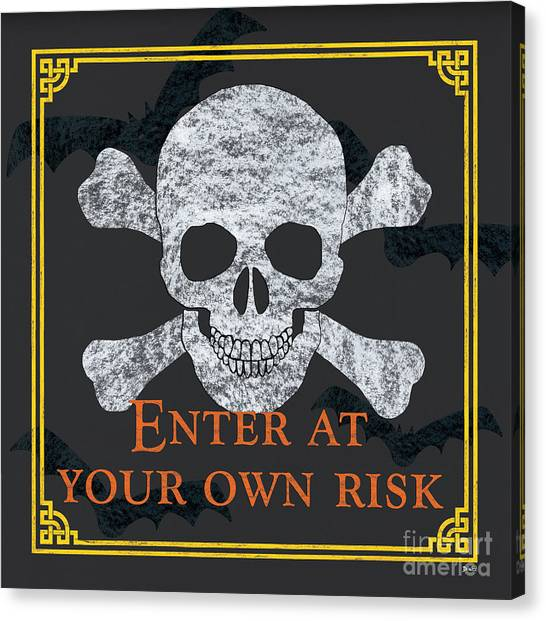 Skulls Canvas Print - Enter At Your Own Risk by Debbie DeWitt