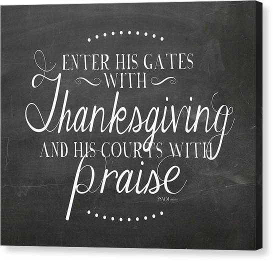 Thanksgiving Canvas Print - Enter His Gates Chalkboard by Amy Cummings