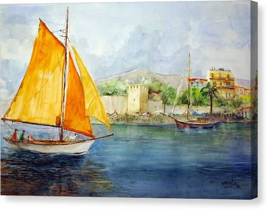 Entering The Port - Foca Izmir Canvas Print