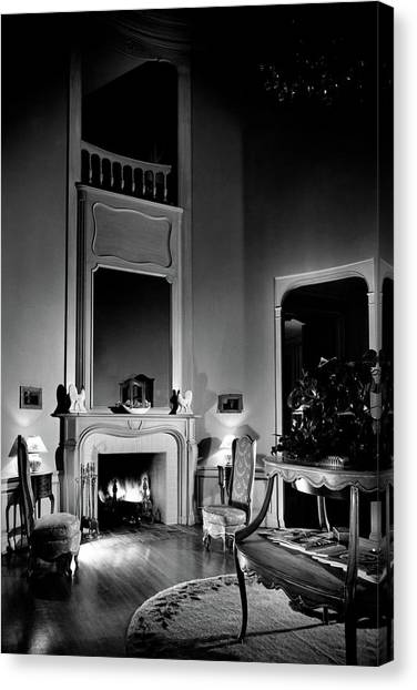 Wooden Floors Canvas Print - Entrance Hall Of Joan Bennett And Walter Wagner's by Maynard Parker