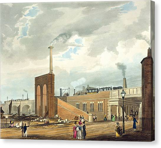 Train Canvas Print - Entrance Into Manchester Across Water by Thomas Talbot Bury