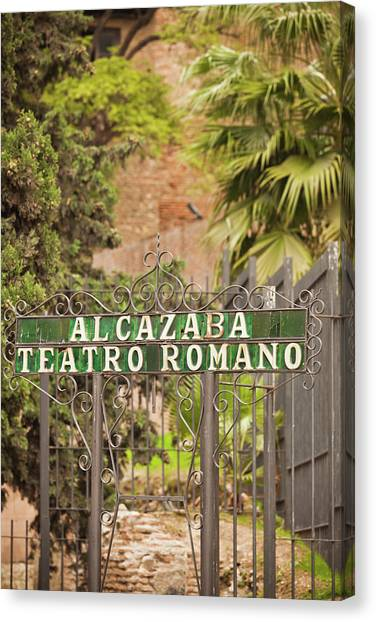 The Amphitheatre Canvas Print - Entrance Of A Roman Theatre, Alcazaba by Panoramic Images