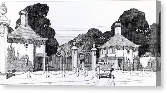 Baltimore Maryland Canvas Print - Entrance To Brooklandwood by Thomas Hayton Mawson