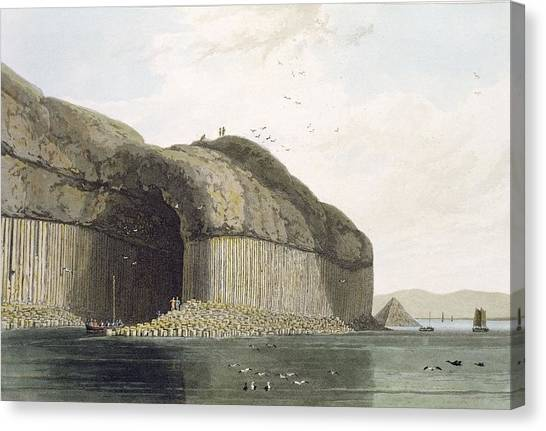 Caverns Canvas Print - Entrance To Fingals Cave, Staffa by William Daniell
