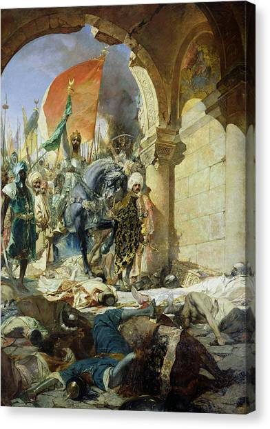 Byzantine Art Canvas Print - Entry Of The Turks Of Mohammed II Into Constantinople by Benjamin Constant