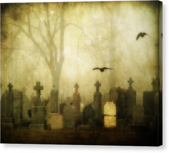 Ravens In Graveyard Canvas Print - Enveloped By Fog by Gothicrow Images