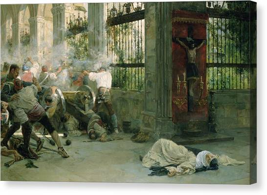 Nuns Canvas Print - Episode From The War Of Independence, 1892 Oil On Canvas by Eugenio Alvarez Dumont