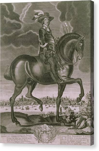 City Landscape Canvas Print - Equestrian Portrait Of Oliver Cromwell  by Albert Haelwegh