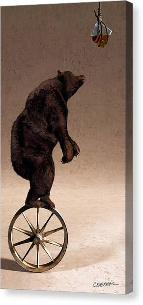 Black Bears Canvas Print - Equilibrium Iv by Cynthia Decker