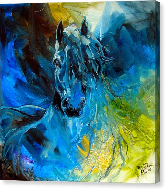 Abstract Horse Canvas Print - Equus Blue Ghost by Marcia Baldwin