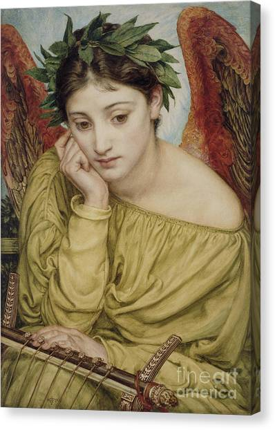 Chin Canvas Print - Erato Muse Of Poetry 1870 by Sir Edward John Poynter