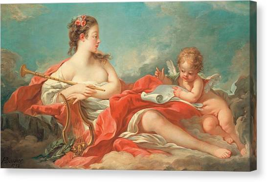 Rococo Art Canvas Print - Erato  The Muse Of Love Poetry by Francois Boucher