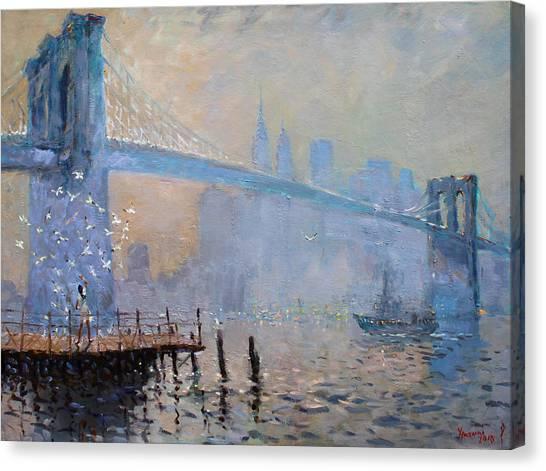 Brooklyn Bridge Canvas Print - Erbora And The Seagulls by Ylli Haruni
