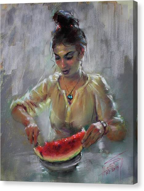 Watermelons Canvas Print - Erbora With Watermelon by Ylli Haruni