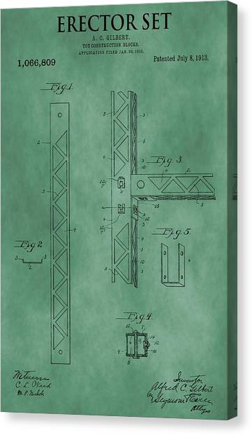 Toy Shop Canvas Print - Erector Set Patent Green by Dan Sproul