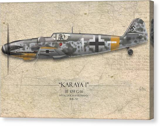 Luftwaffe Canvas Print - Erich Hartmann Messerschmitt Bf-109 - Map Background by Craig Tinder