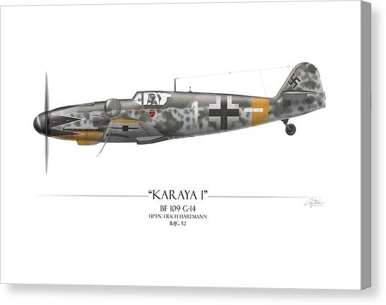 Luftwaffe Canvas Print - Erich Hartmann Messerschmitt Bf-109 - White Background by Craig Tinder