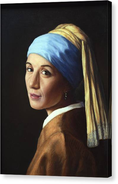 Texas A Canvas Print - Erika With A Pearl Earring by James W Johnson