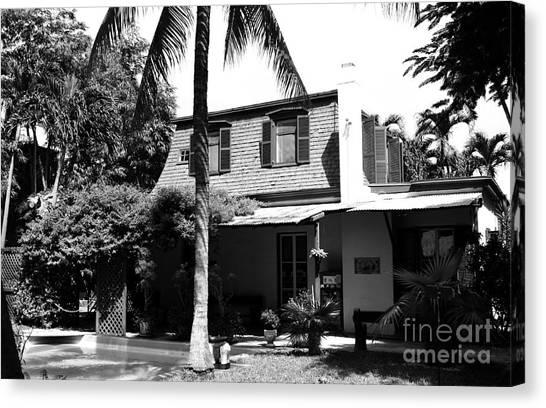 Hemingway canvas print ernest hemingway house writing studio key west florida black and white by