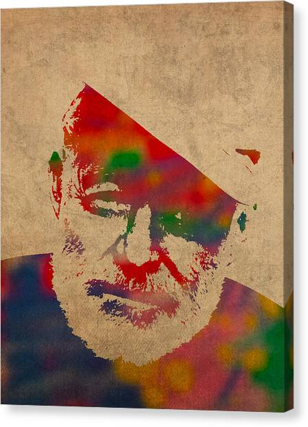 Distressed Canvas Print - Ernest Hemingway Watercolor Portrait On Worn Distressed Canvas by Design Turnpike