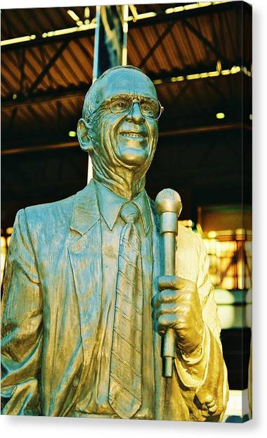Ernie Harwell Statue At The Copa Canvas Print