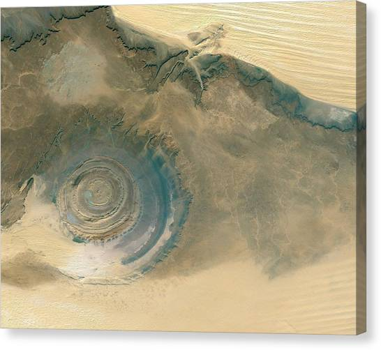 Sandy Desert Canvas Print - Eroded Dome Mountain by Worldsat International/science Photo Library