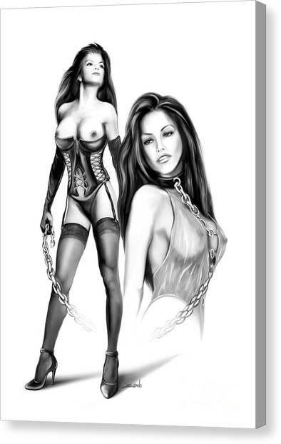 Erotic Lesbian Pet By Spano Canvas Print