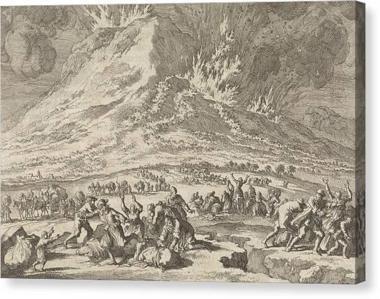Mount Etna Canvas Print - Eruption Of Mount Etna, 1669, Jan Luyken by Jan Luyken And Pieter Van Der Aa (i)