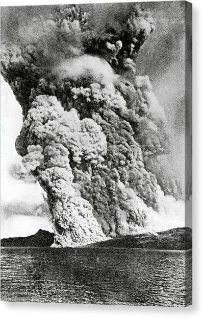 Mount Pelee Canvas Print - Eruption Of Mount Pelee by Royal Astronomical Society/science Photo Library