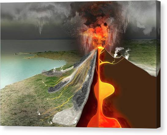 Mount Vesuvius Canvas Print - Eruption Of Mount Vesuvius by Claus Lunau