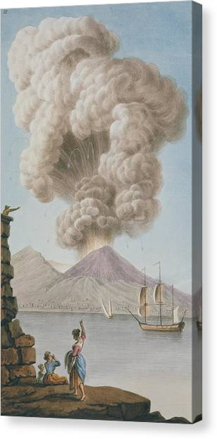 Mount Vesuvius Canvas Print - Eruption Of Vesuvius, Monday 9th August 1779 by Pietro Fabris